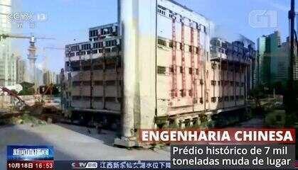 Chineses mudam prédio de 7 mil toneladas de lugar