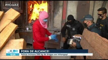 Polícia incinera 200 kg de droga em Inhangapi
