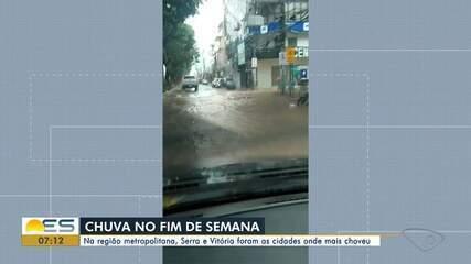 Chuva forte causa transtornos no ES durante o fim de semana