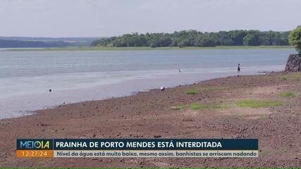 Prainha de Porto Mendes é interditada por conta da seca
