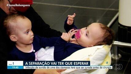 Siamesas da Bahia unidas pelo abdômen chegam a Goiânia para preparação da cirurgia