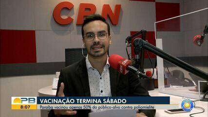 Paraíba vacinou apenas 50% do público alvo contra poliomielite e campanha termina sábado