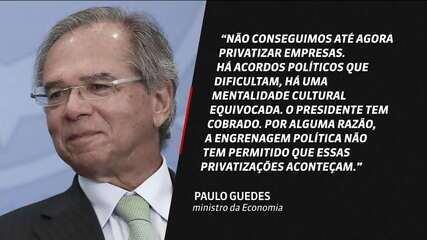 Paulo Guedes diz que engrenagem política impede privatizações e Maia rebate ministro