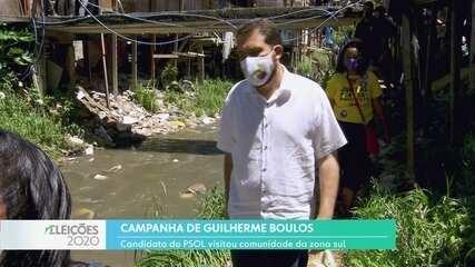 Guilherme Boulos, candidato do Psol à prefeitura da capital, fez campanha na zona sul