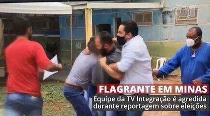 Vídeo mostra equipe da TV Integração sendo agredida em frente a hospital de Prata