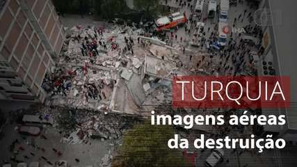 Drone mostra destruição na Turquia após terremoto