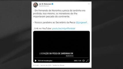 Bolsonaro elogia liberação da pesca de sardinha em Noronha
