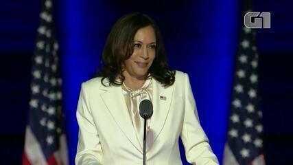 Veja os melhores momentos do 1º discurso de Kamala Harris como vice-presidente eleita