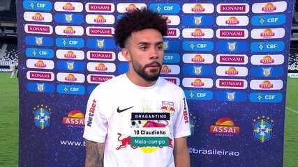 """Autor de gol de pênalti do Bragantino, Claudinho fala sobre vitória sobre o Botafogo: """"Temos que valorizar bastante"""""""