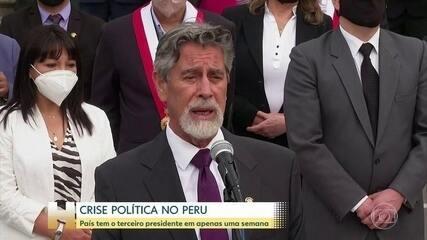 Peru tem terceiro presidentre em uma semana