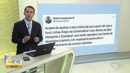 Governador do ES anuncia voos diretos entre Belo Horizonte e Guarapari no verão