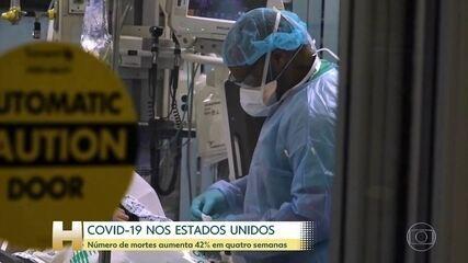 Covid-19 nos EUA: Número de mortes aumenta 42% em quatro semanas