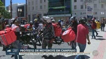 Entregadores e família fazem protesto por motoboy atropelado em Campinas