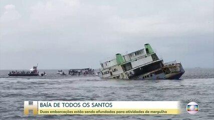 Embarcações são afundadas em Salvador para virar recifes artificiais