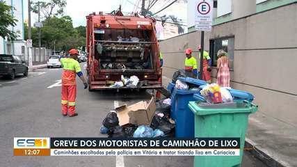 Caminhões são escoltados para recolhimento de lixo em Vitória