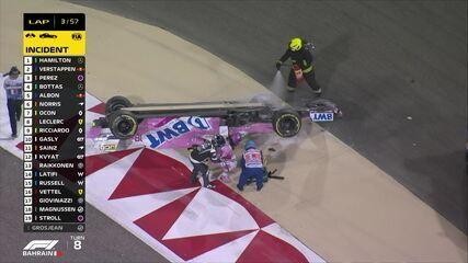 Segunda largada do GP do Bahrein tem acidente de Lance Stroll