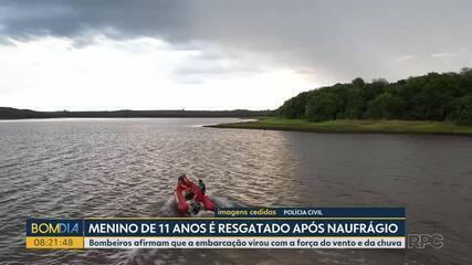 Criança é resgatada de embarcação que naufragou no Lago de Itaipu