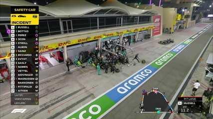 Sakhir GP: Russell e Bottas nos boxes em uma fileira