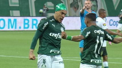 Gol do Palmeiras! Marcos Rocha cobra lateral na área, Gustavo Gómez sobe mais que a zaga e cabeceia, aos 48 do 1ºT