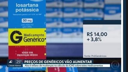 O preço dos remédios genéricos vai aumentar a partir do dia 15 de janeiro
