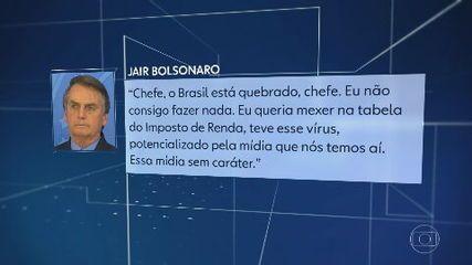 'O Brasil está quebrado. Eu não consigo fazer nada', diz Bolsonaro a apoiadores