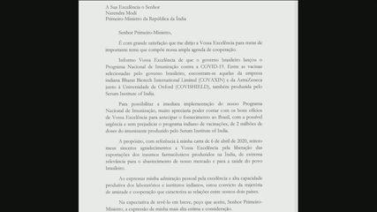 Bolsonaro pede ajuda à Índia para antecipar envio da vacina de Oxford