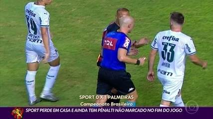 Pênalti não marcado para o Sport dá o que falar em derrota para o Palmeiras