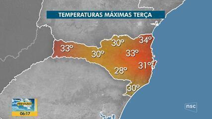 Veja a previsão do tempo para esta terça-feira (12) em SC