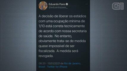 VÍDEO: Eduardo Paes diz que vai revogar volta de público em estádios
