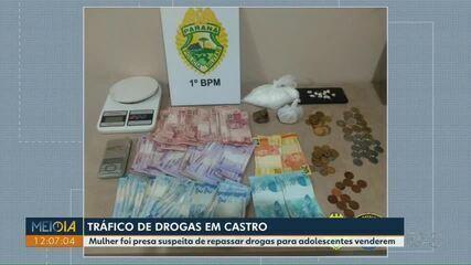Mulher é presa suspeita de repassar drogas para adolescentes venderem em Castro