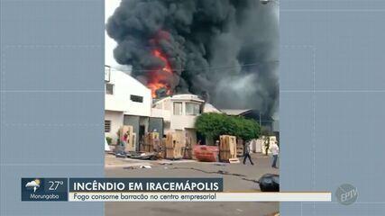 Incêndio atinge barracão em centro comercial de Iracemápolis