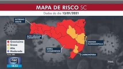 SC tem 13 regiões em situação gravíssima por causa da Covid