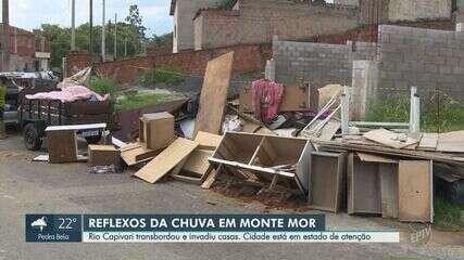 Rio Capivari transborda em Monte Mor e deixa ruas embaixo d'água