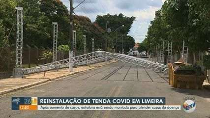 Após aumento de casos, tenda de tratamento de covid é reinstalada em Limeira