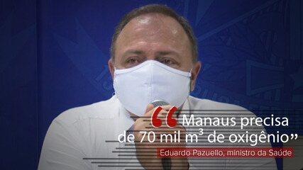 VÍDEO: Manaus precisa de 70 mil m³ de oxigênio, diz Pazuello