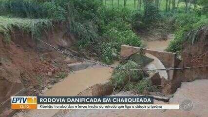 Ribeirão transborda em Charqueada e leva parte da estrada que liga cidade a Ipeúna