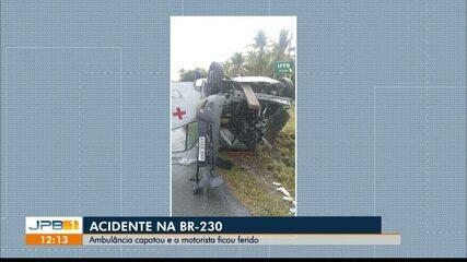 Ambulância capota na BR-230, na PB
