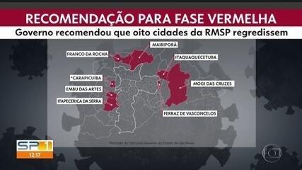 Governo recomenda que 8 cidades da região metropolitana voltem para a fase vermelha