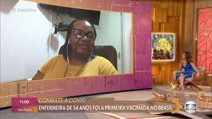 Primeira vacinada do Brasil fala sobre emoção e repercussão