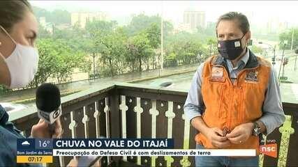 Defesa Civil alerta para deslizamentos de terra no Vale do Itajaí