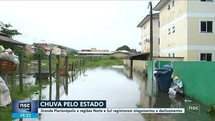 Grande Florianópolis e regiões Norte e Sul registraram alagamentos e deslizamentos