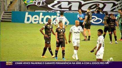 Ceará vence Palmeiras e garante permanência na Série A com seis jogos para o fim