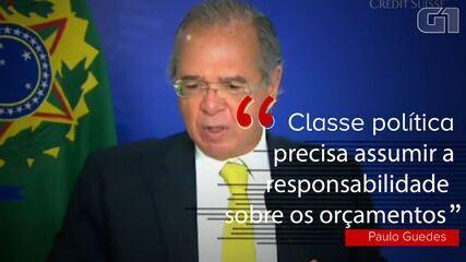 VÍDEO: 'classe política tem de assumir a responsabilidade pelos orçamentos', diz Guedes