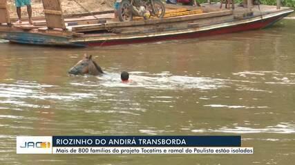 Sem ponte, moradores e animais se arriscam para atravessar riozinho no AC