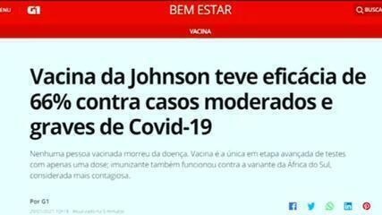 Vacina da Johnson teve eficácia de 66% contra casos moderados e graves de Covid-19