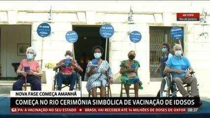 Rio de Janeiro realiza vacinação de idosos em ato simbólico