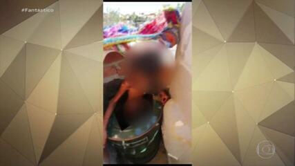 Menino de 11 anos é resgatado após passar um mês acorrentado pelo pai e preso em barril
