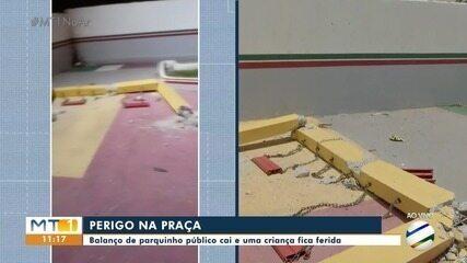 Balanço de parque público caiu e uma criança ficou ferida, em Várzea Grande