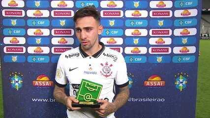 Eleito craque do jogo, Gustavo Mosquito diz que trocaria gols pela vitória do Corinthians