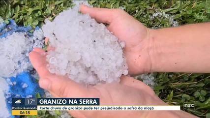 Granizo e chuva atingem cidades da Serra catarinense